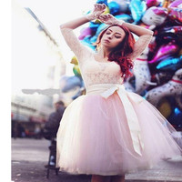 Women S Skirts Occident New Fashion Tulle Simple Skirt Casual High Waist Long Tulle Skirt Girl
