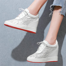 NAYIDUYUN  Punk Tennis Sneakers Women Breathable Cow Leather Wedges Platform Evening Party Pumps High Heel Summer Casual Shoes