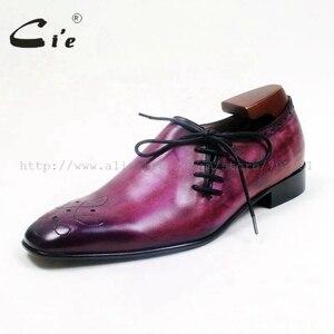 Image 2 - Cie Square Toe Suela de Piel De Becerro auténtica transpirable, hecha a mano, planos informales para hombre, cordón de zapato pintado a mano, color morado OX517