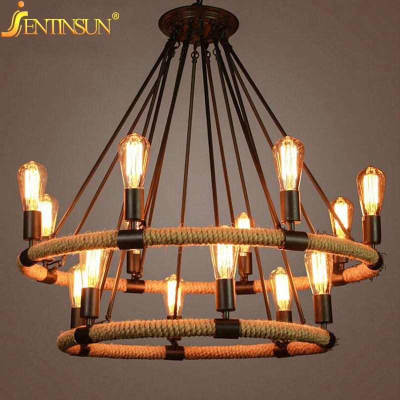 American Country Retro Hemp Rope Pendant Light Lamps Vintage Edison Bulb Hemp Cord Hanging Lights For Cafe Restaurant Bar Foyer american style hemp rope pendant light personalized bar table lamps nostalgic vintage clothes lighting