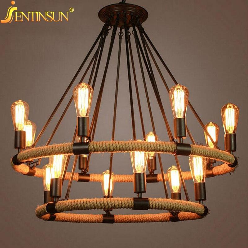 American Country Retro Hemp Rope Pendant Light Lamps Vintage Edison Bulb Hemp Cord Hanging Lights For Cafe Restaurant Bar Foyer