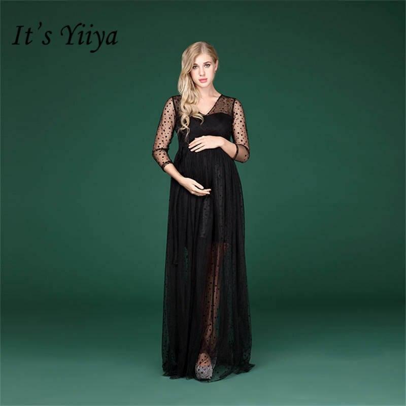 Это YiiYa пикантные иллюзия Черный для беременных летнее платье для беременных съемки фото кружева платья для беременных H158
