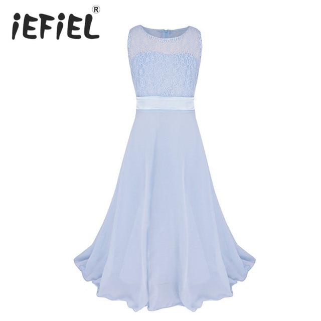 IEFiEL Kinder Mädchen Blume Spitze Kleid für Partei und Hochzeit ...