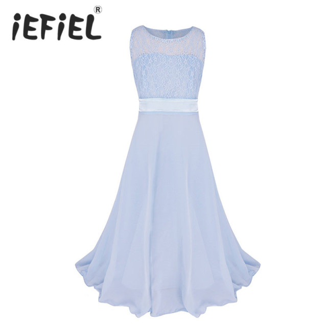 42ef3370b23 iEFiEL Kids Girls Flower Lace Dress for Party and Wedding Bridesmaid Floral  Girl Dress Ball Gown