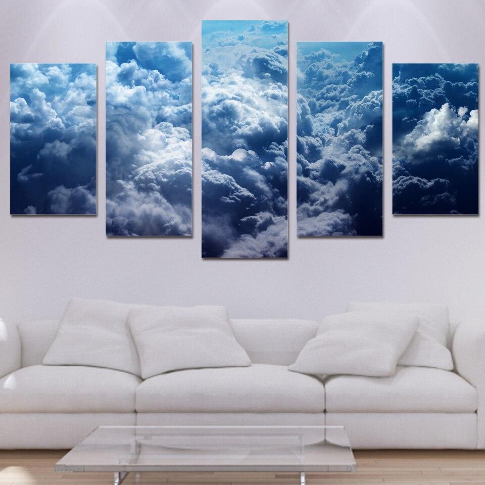 5 piece canvas art paintings cloud blue sky HD print home ...