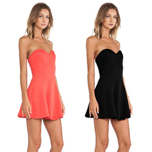 2017 Summer Stylish Ladies Women Casual Cheap Price Party Wear Strapless V neck Black Orange Night