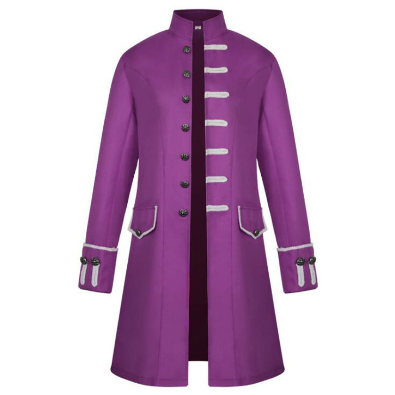 New solid color fashion steampunk retro men's uniform European and American men's coats Medieval clothing