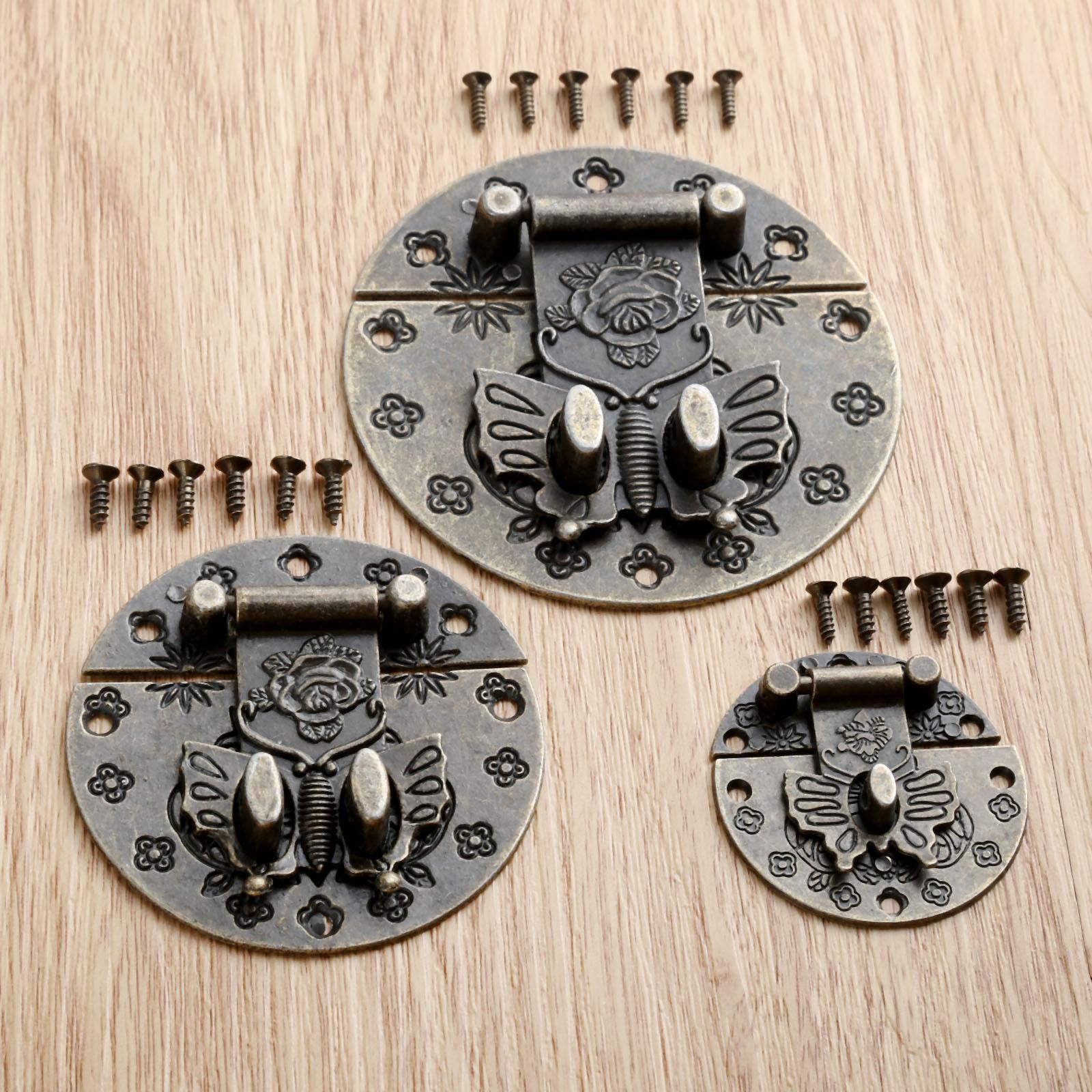 DRELD 1Pc Vintage Butterfly Clasp Alloy Buckles Wooden Jewelry Box Buckles Wine Box Flower Lock Buckle Decor Hardware 38/59/74mm