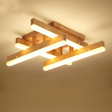 JAXLONG Modern Wood LED Ceiling Light Indoor Living Room for Bedroom Lighting Luminaire Home Decor