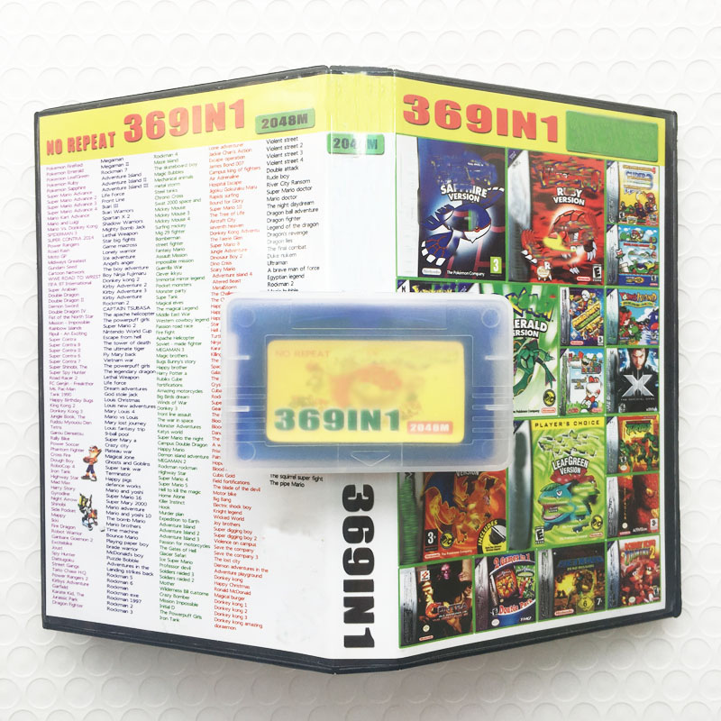 Super Drop Shipping 369 in 1 Video Game Compilation Cartridge Card with Box for 32 Bit Game Console English Language