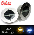Bright 3LED Outdoor Solar Ground Lamp New LED Garden lawn light  steel + Tempered glass Solar Powered Led Underground Lights