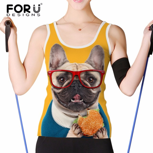 FORUDESIGNS 3D Women Crop Tops Funny French Bulldog Printed Women Tank Top Animal Dog Face Ladies Casual Sleeveless Vest Summer