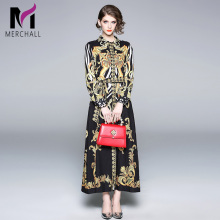 New Fashion Runway Turn Down Collar Maxi Dress 2019 Spring Women's Belt Long Sleeve Vintage Printed Button Down Split Long Dress long sleeve button down mini shift dress