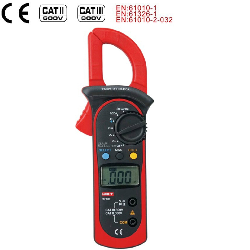 Digital Clamp Meter Multimeter UNI T UT201 400A Auto Range AC Ammeter 600V AC/DC Voltmeter Ohmmeter 1999 Count Diode measure mastech ms2008a auto range digital ac clamp meter ammeter voltmeter ohmmeter with lcd backlight
