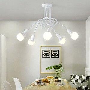 Image 5 - 現代の天井照明リビングルームベッドルームダイニングルームランプ北欧シンプルなスタイル鉄金属スプレー塗装工程黒、白、赤