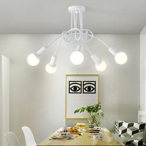 Image 5 - Lámparas de techo modernas para sala de estar, dormitorio, comedor, lámpara de estilo Simple nórdico, proceso de pintura en aerosol de Metal, negro, blanco y rojo