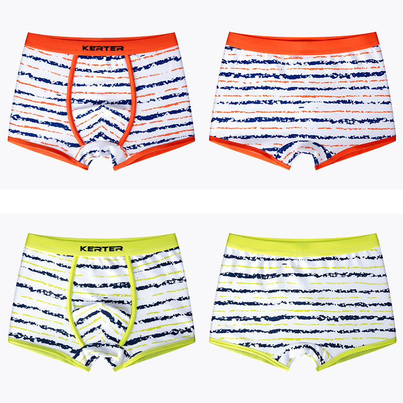 4Pcs/Pack Boxer Underwear for Boys Striped Children Cotton Panties Shorts Teenage Breathable Underpants Young Underwear Boys 16T 2