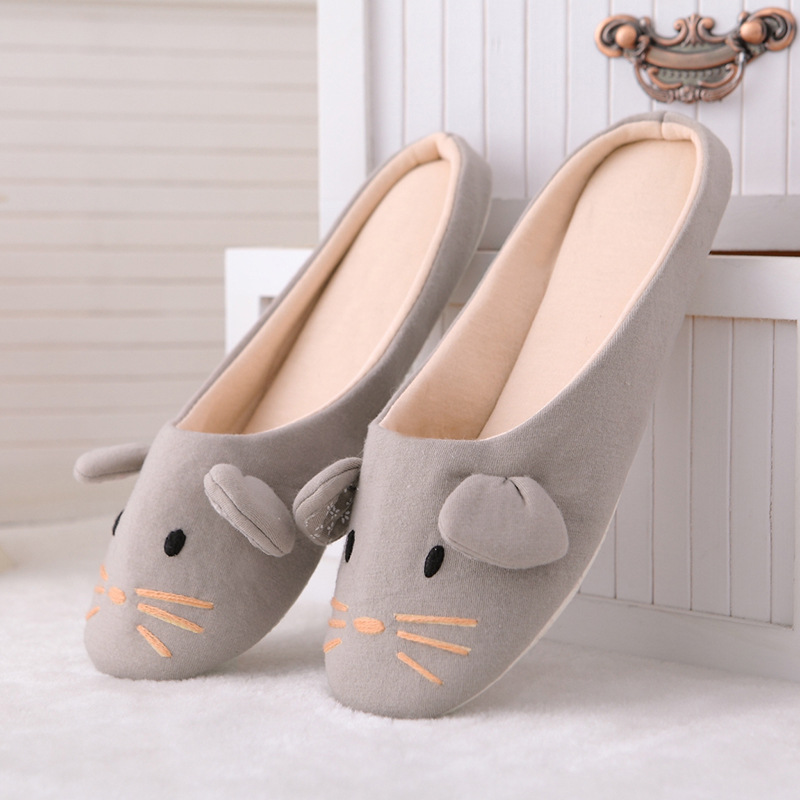 Free Shipping Cute Animal Embroidery Slippers Women's Cotton Four Seasons Little Mouse and Puppy Light Casual Slipper Wholesale 100 super cute little embroidery chinese embroidery handmade art design book