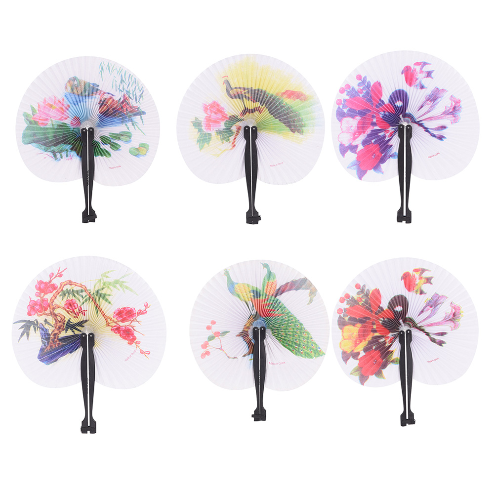 Folding Paper Hand Fan Round Painting Fan Event Wedding Bridal ...