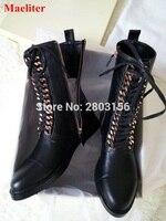Демисезонный Сапоги и ботинки для девочек цепи Кружево на шнуровке черные кожаные женские ботильоны модные ботинки на молнии ботинки на пл