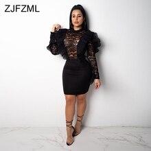 Black Lace Crochet Sexy Bodycon Dress Women O Neck Long Sleeve Bandage See Through Dress Elegant Hollow Ruffle Club Party Dress