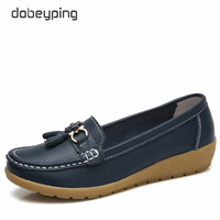 Dobeyping 2018 Spring Autumn Shoes Woman Cow Leather Flats Women Slip On Women S Loafers Female
