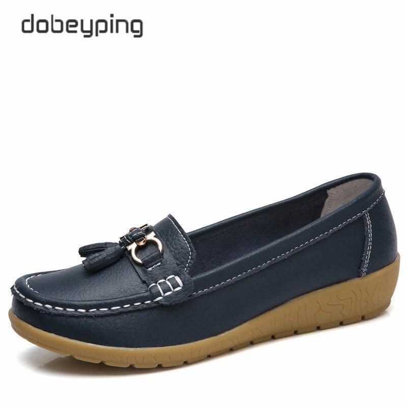 Dobeyping 2018 Женская Демисезонная обувь из коровьей кожи Туфли без каблуков Для женщин Слипоны женские лоферы женские мокасины обувь Большие размеры 35–41