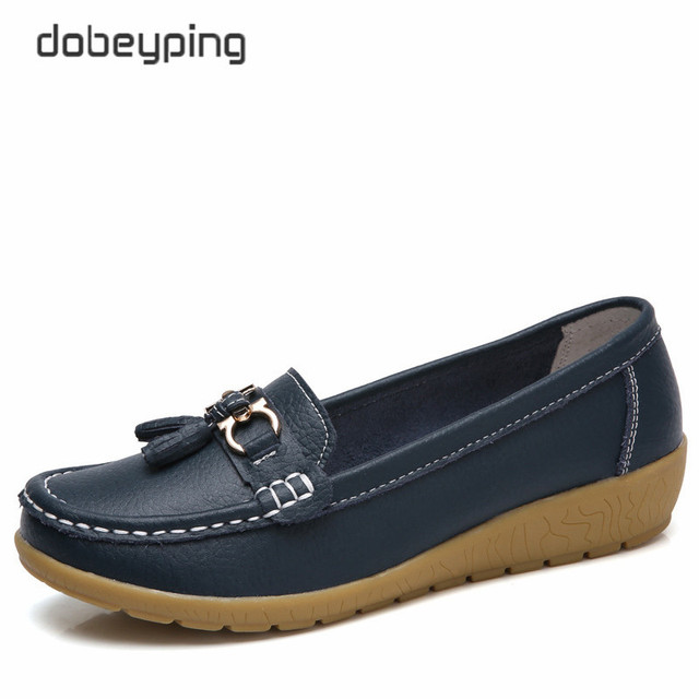 Dobeyping 2019 Spring Autumn Shoes Woman Cow Leather Flats Women Slip On Women's Loafers Female Moccasins Shoe Large Size 35-41