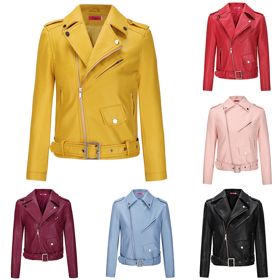 2017 New Fashion Female Biker Motorcycle Cropped   Leather   Jacket Women Pink Red Black Blue Brown Yellow
