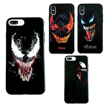 Silicone Case For iPhone XR X XS Max Male Marvel Avengers VENOM Matte Cover For iPhone 6s 7 Plus 8 Plus Superman Spiderman Cases(China)