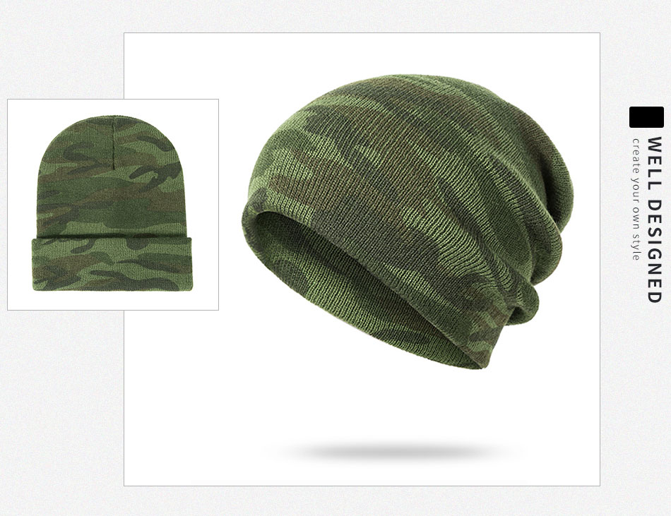 e5a22b205a4 2019 GROUP JUMP Knitted Camo Beanies Skullies Thicken Knitted Army ...