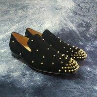 Замшевые кожаные вечерние туфли с заклепками; Мужская Роскошная брендовая дизайнерская повседневная обувь; мужские лоферы; итальянская му