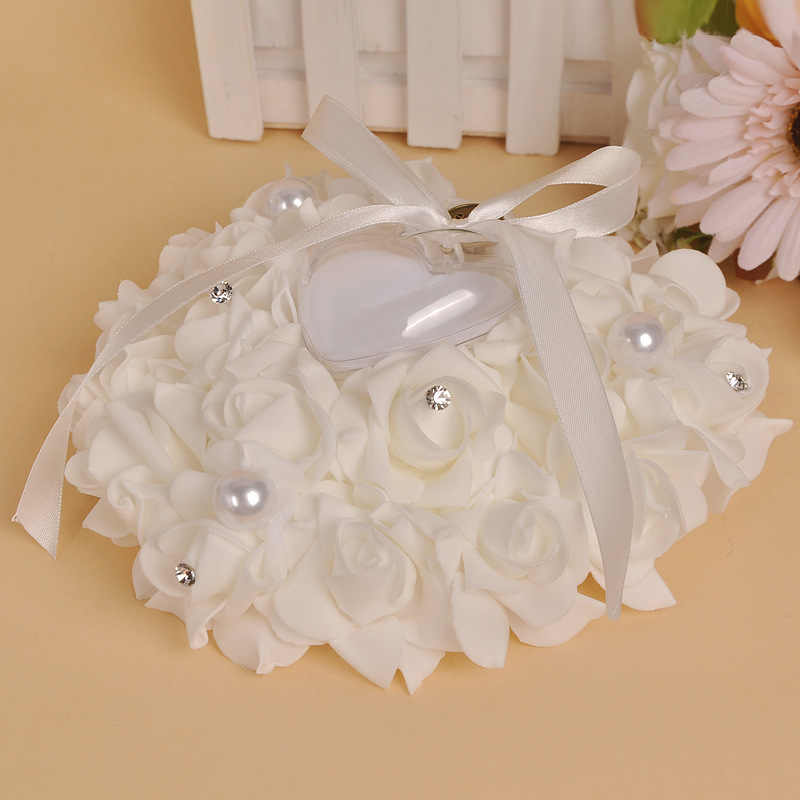 Heart-shaped Ring Pillow Rose Flowers Rhinestone Pearls Ring Bearer Pillow Cushion Wedding Favors 669