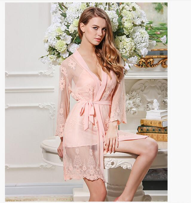 2018 Night Dress Women Spaghetti Strap Sleepwear V-Neck Lace Embroidery Nightgrown Robes Nightwear Sleep Dress 2 pieces/set