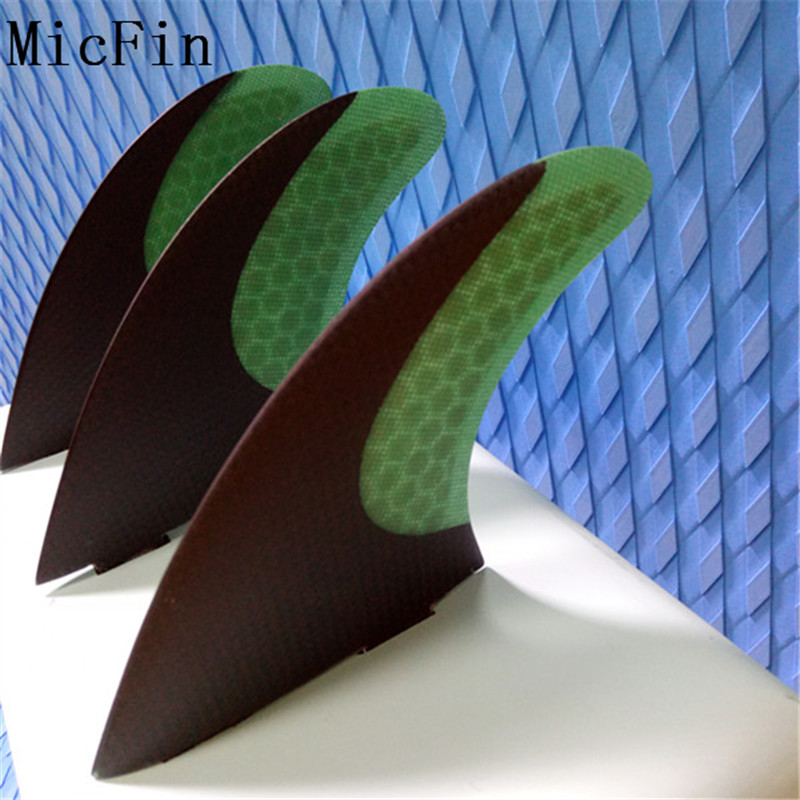 Micfin Carbon fiber Surfboard Fins Thruster Fin Set (3) FCS Compatible Medium Green Surf Fin quillas surf fcs surfing