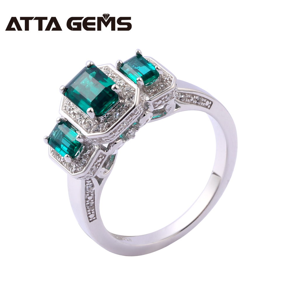 Emerald Sterling Silver Rings Unisex Silver Rings 6 Carats Created Emerald Silver Jewelry Top Quality Classic Design Family giftEmerald Sterling Silver Rings Unisex Silver Rings 6 Carats Created Emerald Silver Jewelry Top Quality Classic Design Family gift