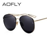 AOFLY Sun Glasses For Women Luxury Brand Designer Oval Sunglasses Fashion Goggle Unique Style Mirrored Lenes