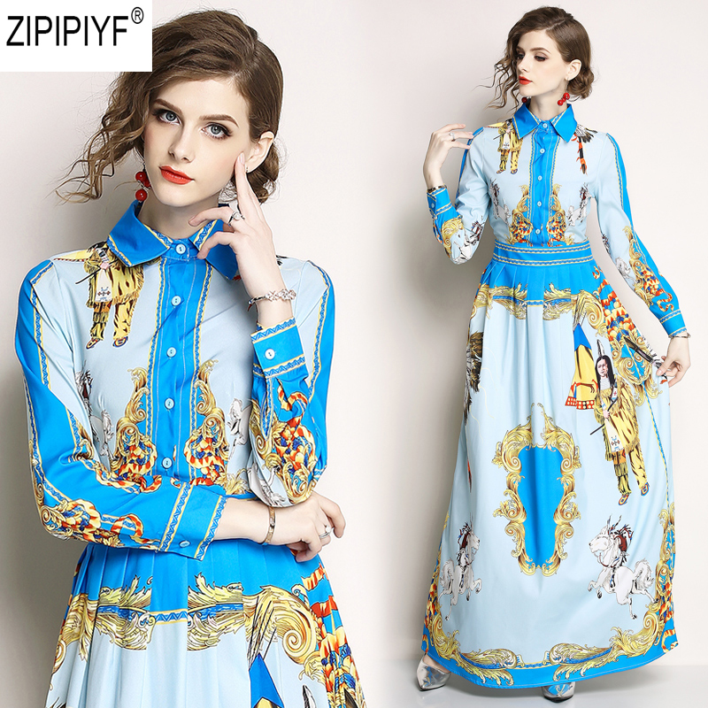 High Quality Newest Fashion Runway Turn Down Collar Floor-Length Dress Women Long Sleeve Retro Art Printed Designer Dress C1147