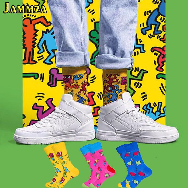 Cotton Fashion Hiphop Funny Socks Men Women Cute Heart Colorful Art Sokken Harajuku Creative High Quality Brand Gift For Socks