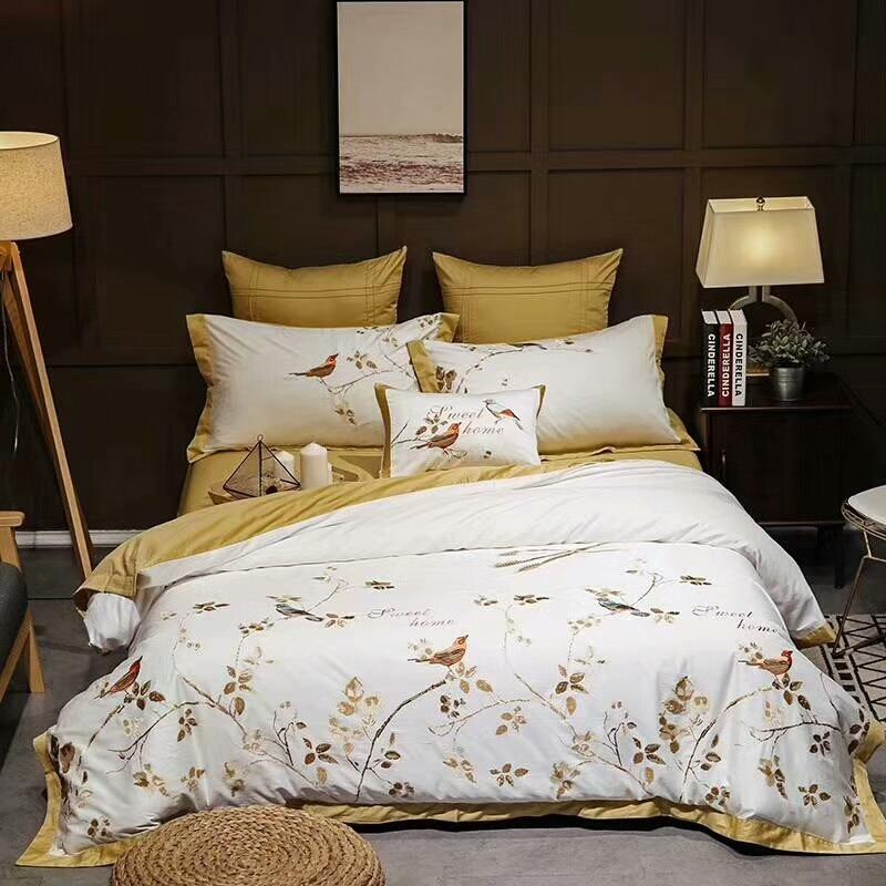 Amarelo Branco de Luxo de algodão Egípcio conjuntos de Cama Queen size Rei Oriental Bordado lençóis capa de Edredão de linho conjunto de Cama