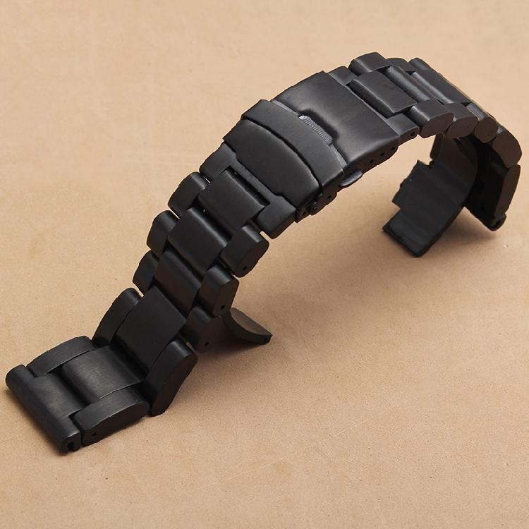 Promotion Thicker Steel Watchband Black Stainless Steel Bracelets fit Heavy Watches Accessories 22mm 24mm 26mm High