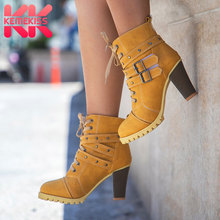 KemeKiss size 34-42 women high heel half short ankle boots winter martin snow botas fashion footwear warm heels boot shoe P7736