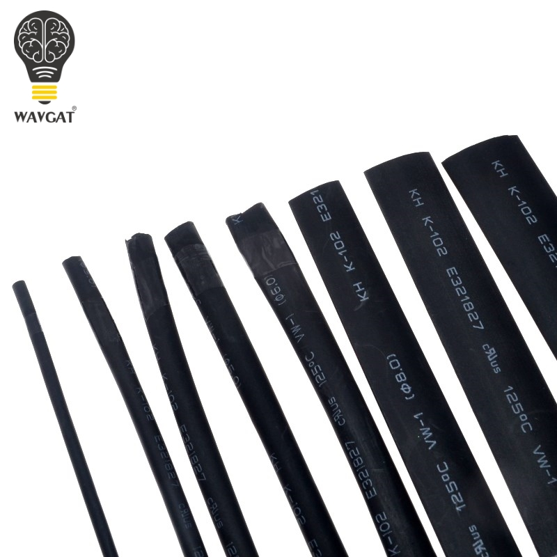 WAVGAT 8 Size 2mm~12mm Heatshrink Heat Shrink Tube Black Insulation Sleeves Wire Wrap Cable Kit