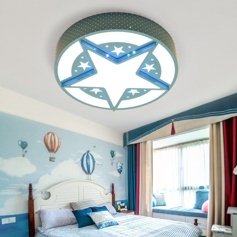 Blue Hollow Out Metal Round Unique Shade Acrylic Lampshade Star Led Ceiling Lamp Light Captain American Kids Bedroom Lighting