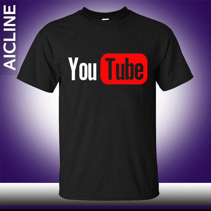 New youtube logo print brand tops cotton short sleeve for Shirts with custom logo