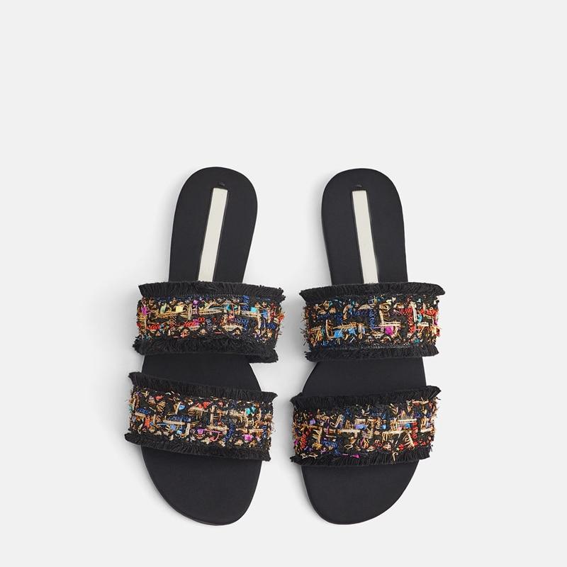 2019 г. Новые летние женские шлепанцы обувь без задника тапочки шлепанцы с кисточками на плоской подошве с открытым носком Женская удобная летняя верхняя одежда балк пляжная обувь флип флоп