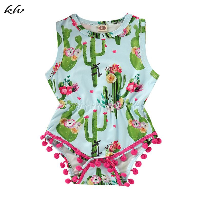 Baby Girl Flamingo Print Romper Sleeveless Tassel Jumpsuit Summer Outfit Clothes
