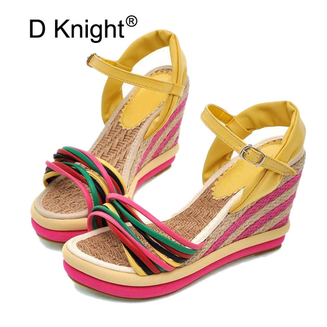 f17b085c6d1c5 Gladiator Sandals Women 2018 Summer Boho Color Block Women Wedges Sandal  Straw Braid Platform Espadrilles High