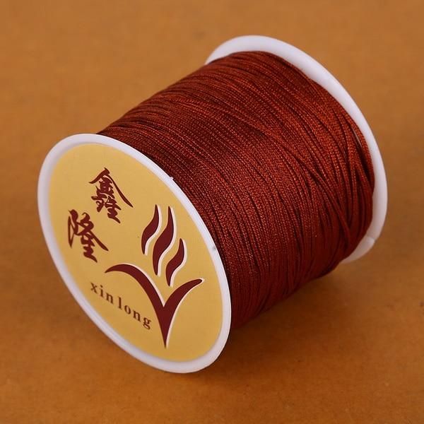 50 метров 0,8 мм нейлоновый шнур, китайский Узелок, шнур макраме, браслет, плетеный шнур, бисероплетение, сделай сам, ювелирный шнур, нить - Цвет: Red Brown
