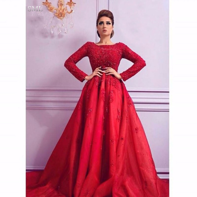 b8268ae3971fc SML Red Long Sleeve Lace Muslim Evening Dresses Party Turkish Women Ball  Gown Beaded Arabic Style Formal Evening Gowns Dresses